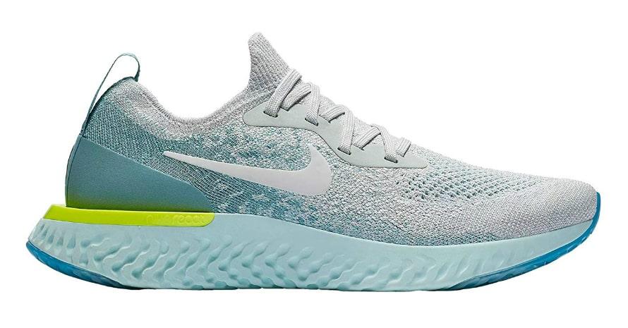 white and blue nike shoe