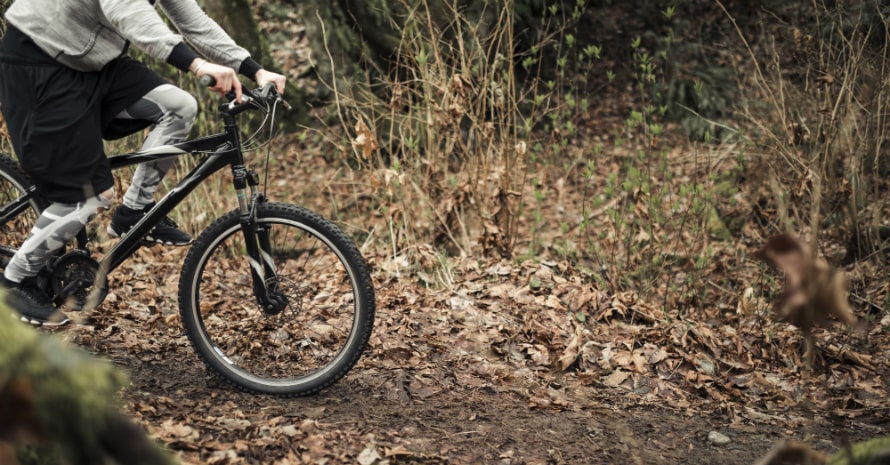 cyclist riding his mountain bike forest trail