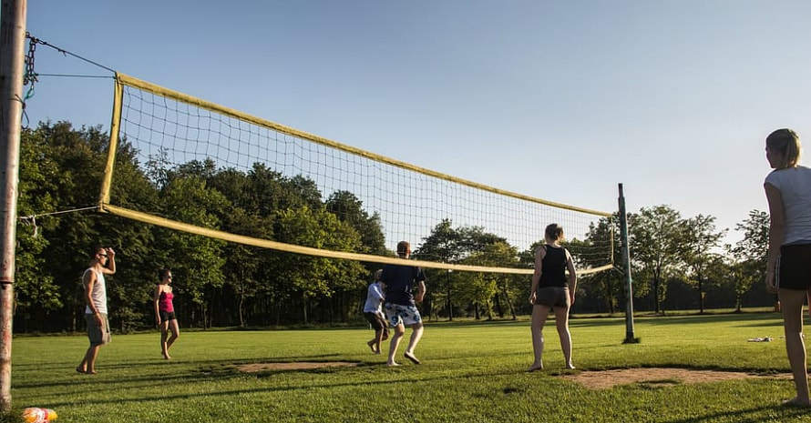 volleyball on the grass
