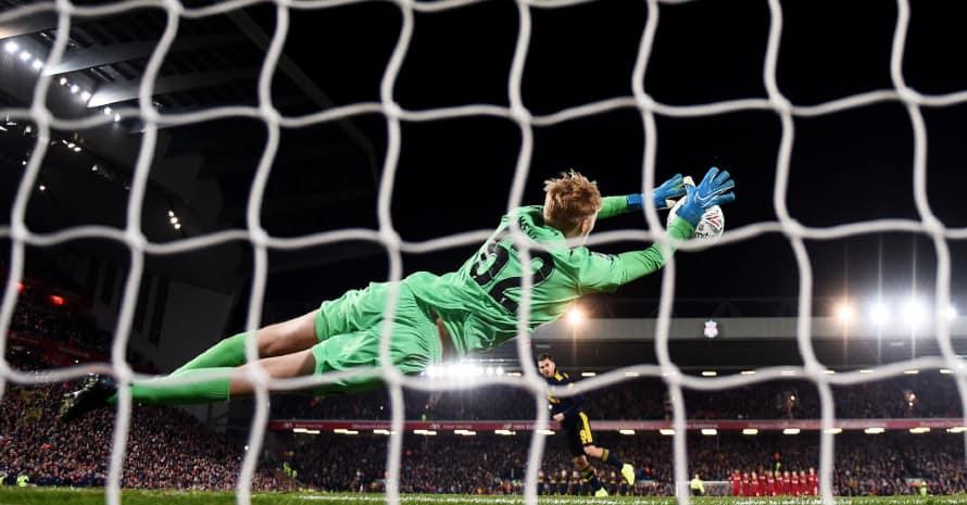 Goalkeeper Kelleher save the ball